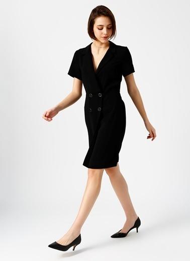 Random V Yaka Kısa Elbise Siyah